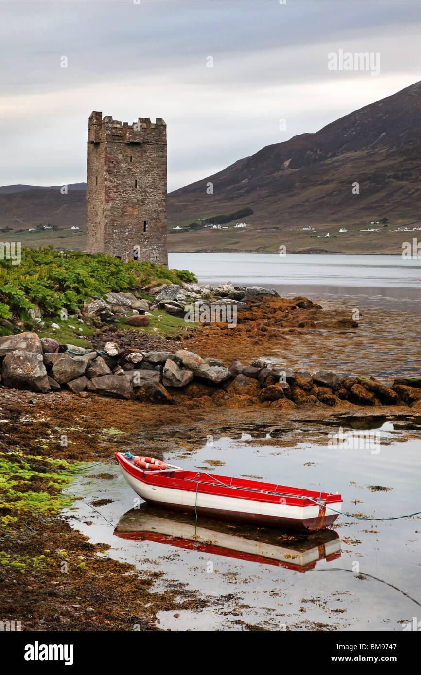kildavnet Castle, Achill Island, Ireland, - Stock Image