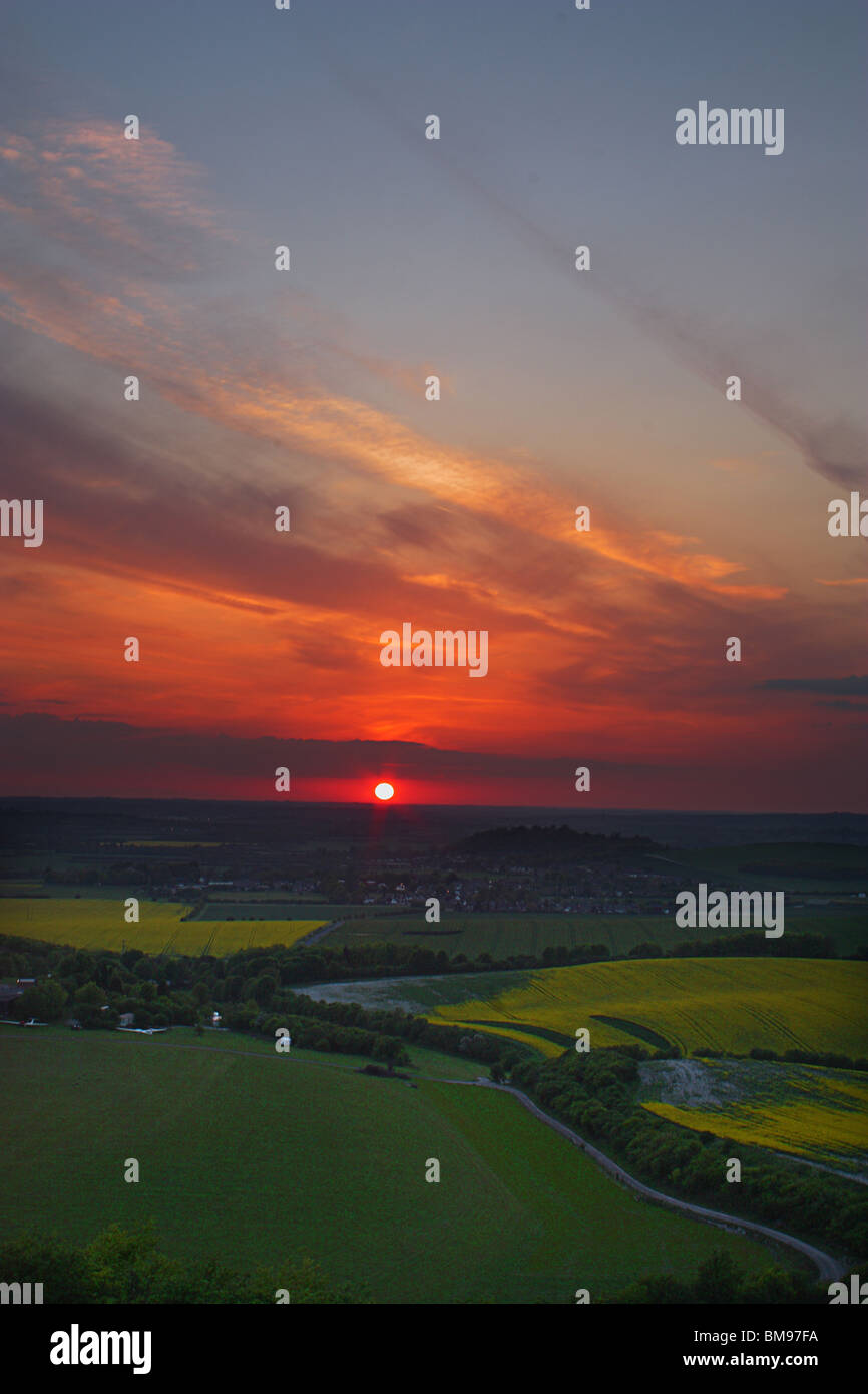Sunset at Dunstable Downs, Bedfordshire Stock Photo