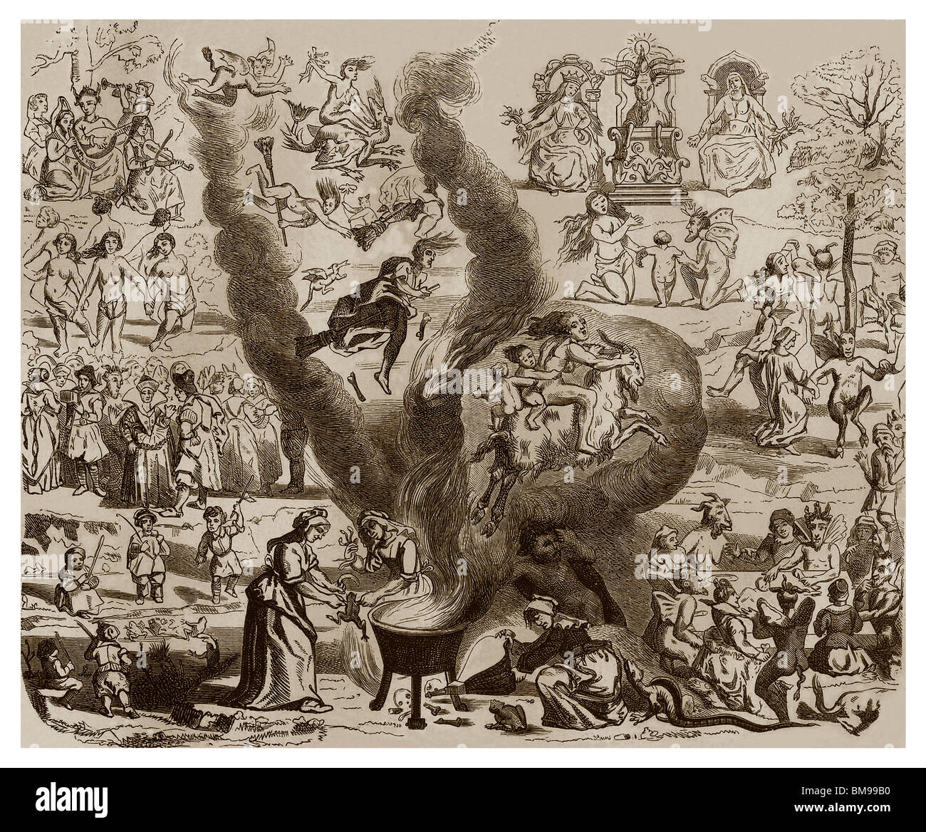 Witches' Sabbath in the High Middle Ages in France: Night ceremony of witches. - Stock Image