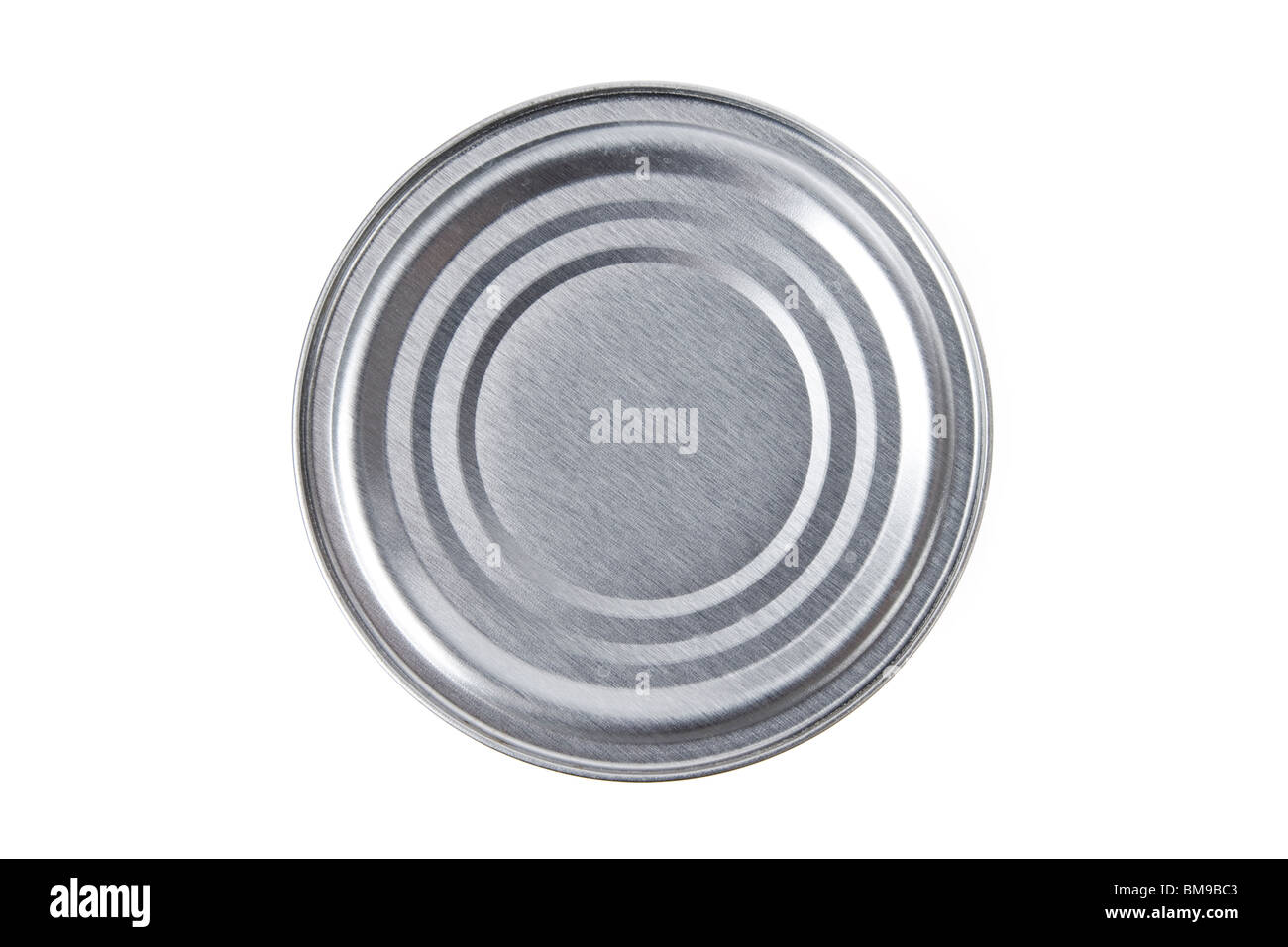 Metal Can top with white background - Stock Image