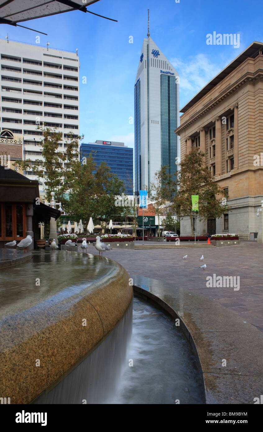 Forrest Place and the Bankwest Tower in Perth, Western Australia - Stock Image