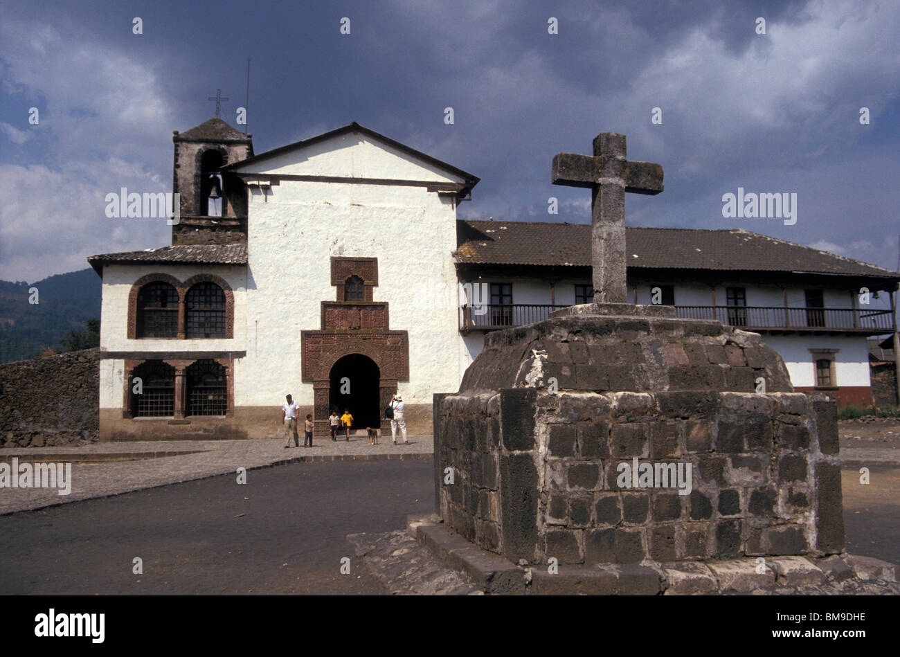 The 16th-century Iglesia de Santiago Apostol in the village of Angahuan, Michoacan, Mexico - Stock Image