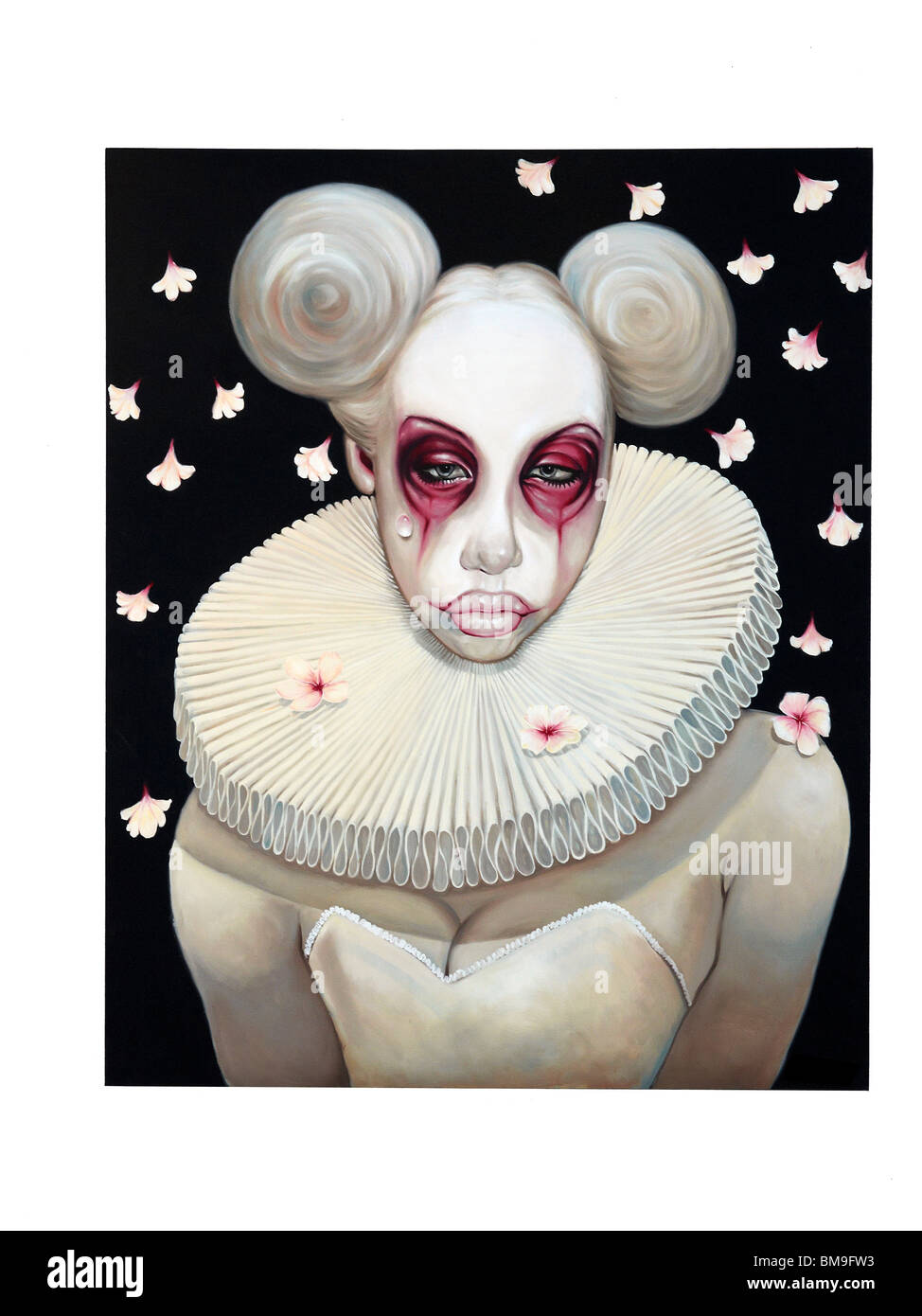 Fantasy art painting of a white female clown with sad face. - Stock Image