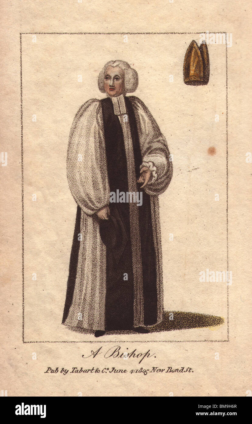 A Bishop In Long Black And White Robes Wearing A White Wig A Gold Stock Photo Alamy