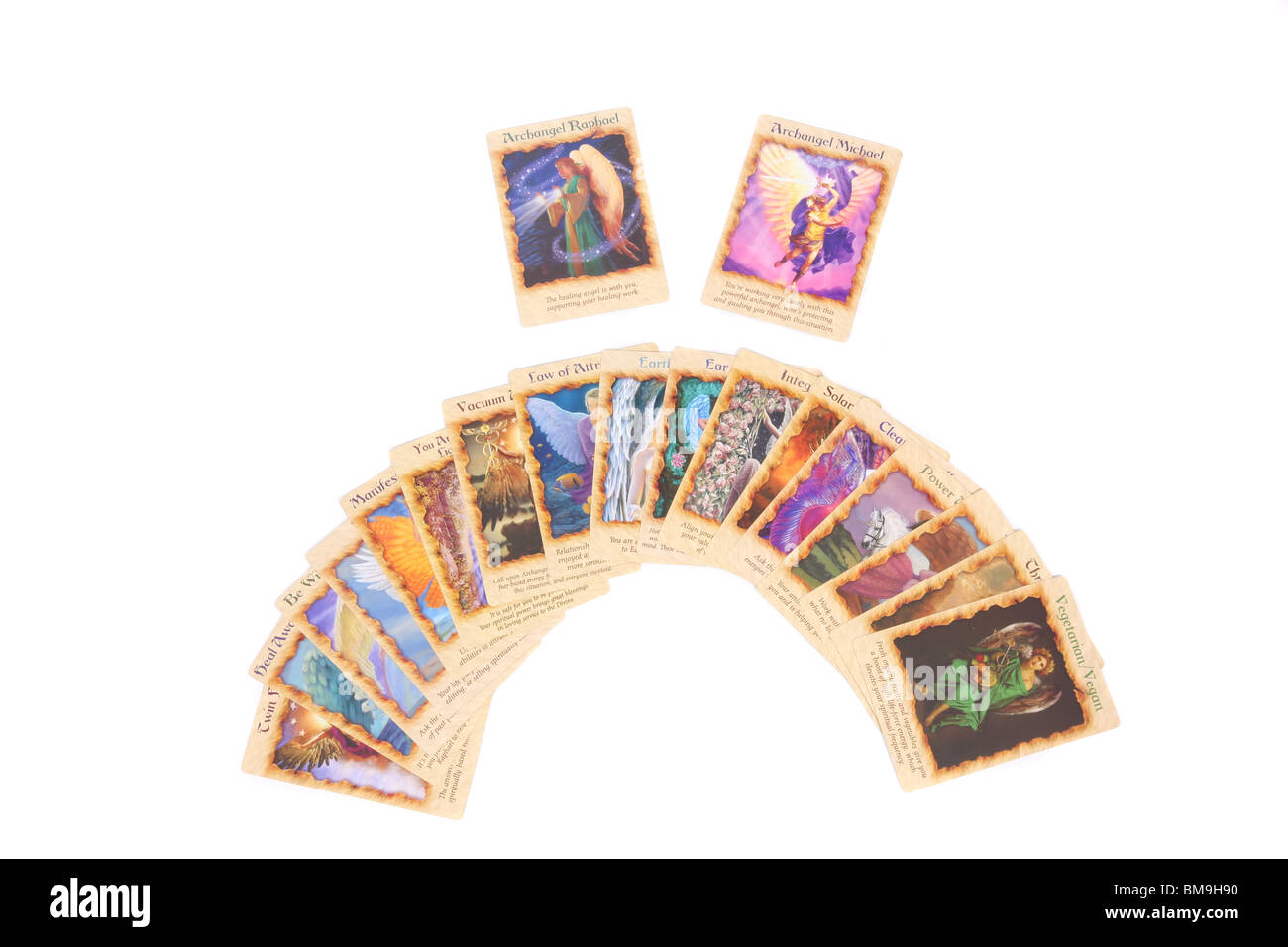 An Angel card reading using the fan spread. - Stock Image