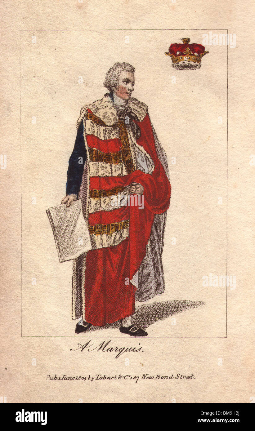 A Marquis. The coronation robes are of red velvet, lined with white taffeta, ermine edges, and gold lace. - Stock Image