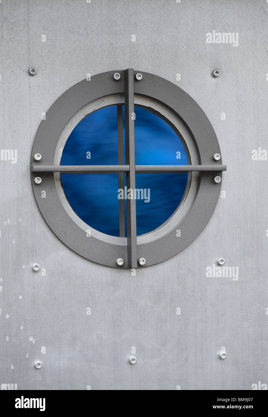 Silver Metal Door With Porthole Window With View On Sea   Stock Image