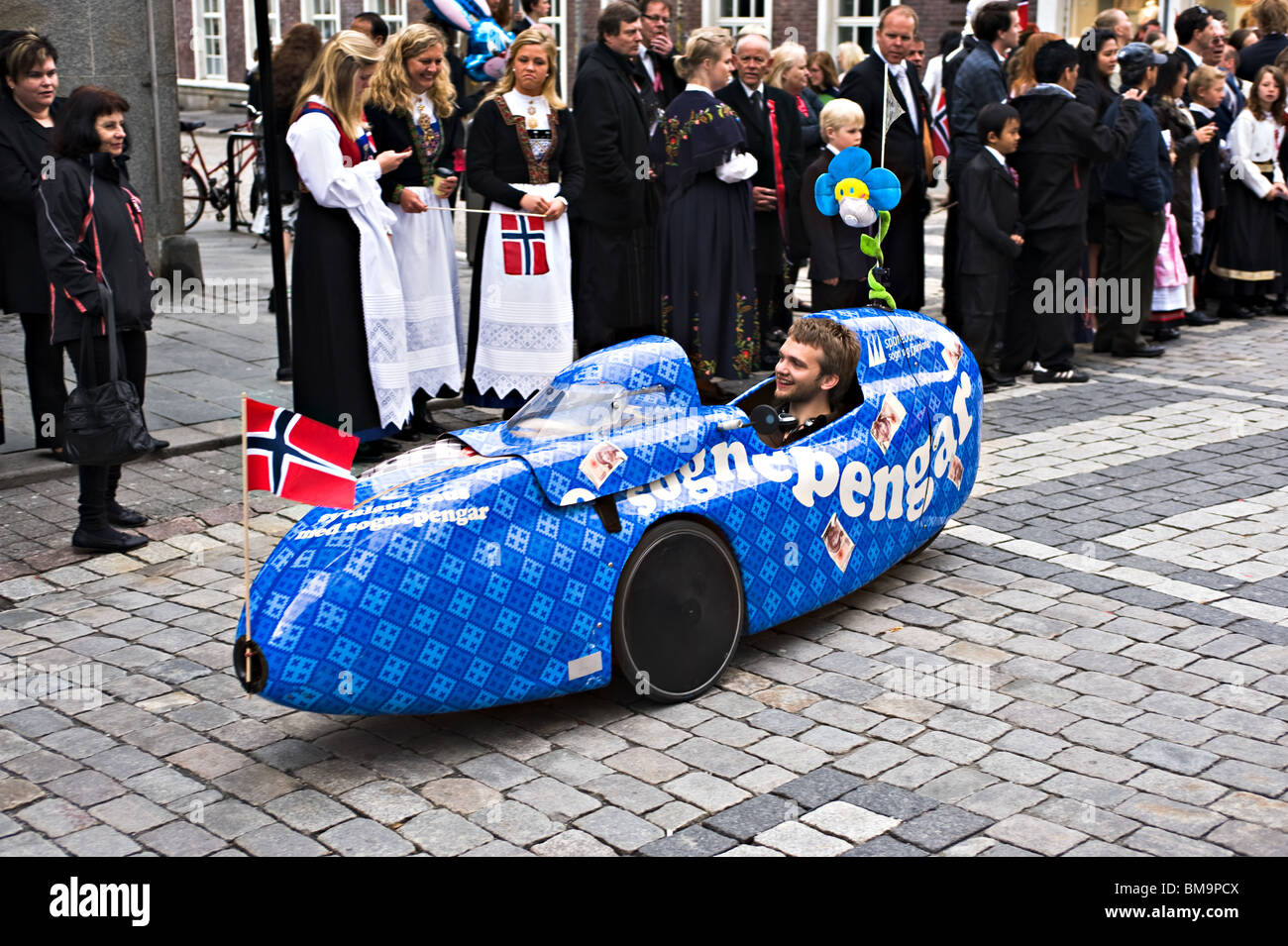 Electric Car In the Independence Day Parade on 17 May in Bergen Norway Stock Photo