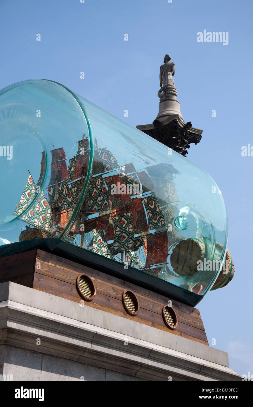 Fourth Plinth Ship  by Yinka Shonibare, Trafalgar Square , London , England - Stock Image