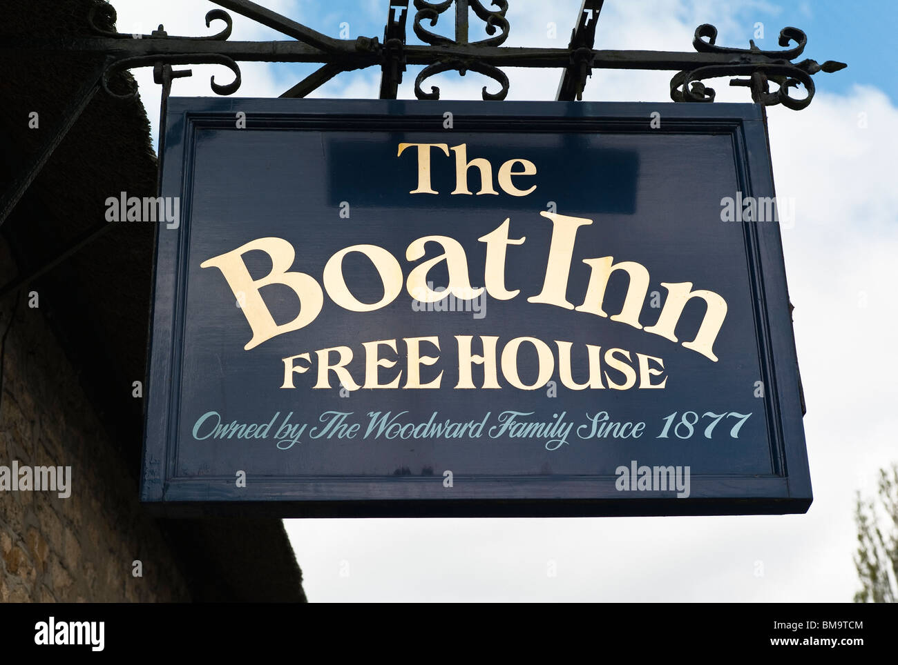 The Boat Inn sign at 'Stoke Bruerne' UK - Stock Image