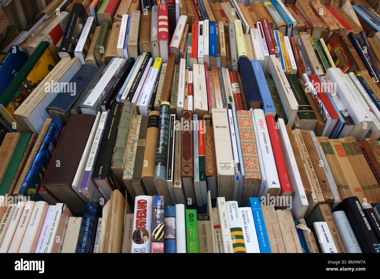 Group of secondhand books in a street bookshop - Stock Image
