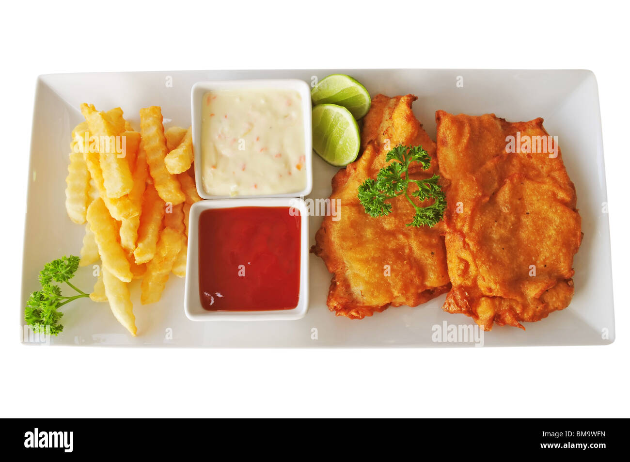 Fried fish and chips over white background - Stock Image