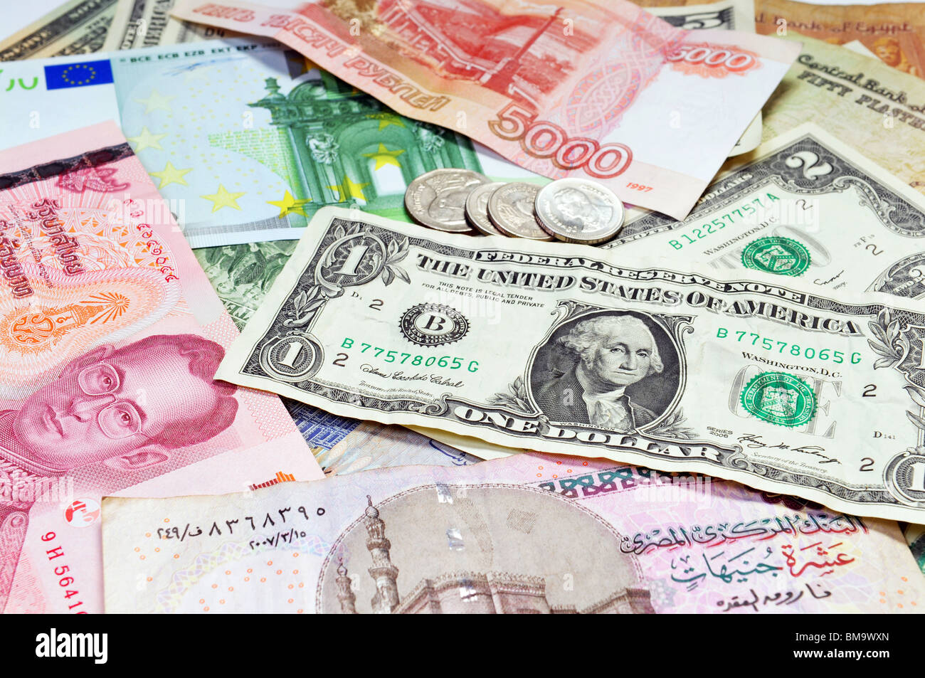 A collection of various currencies - Stock Image