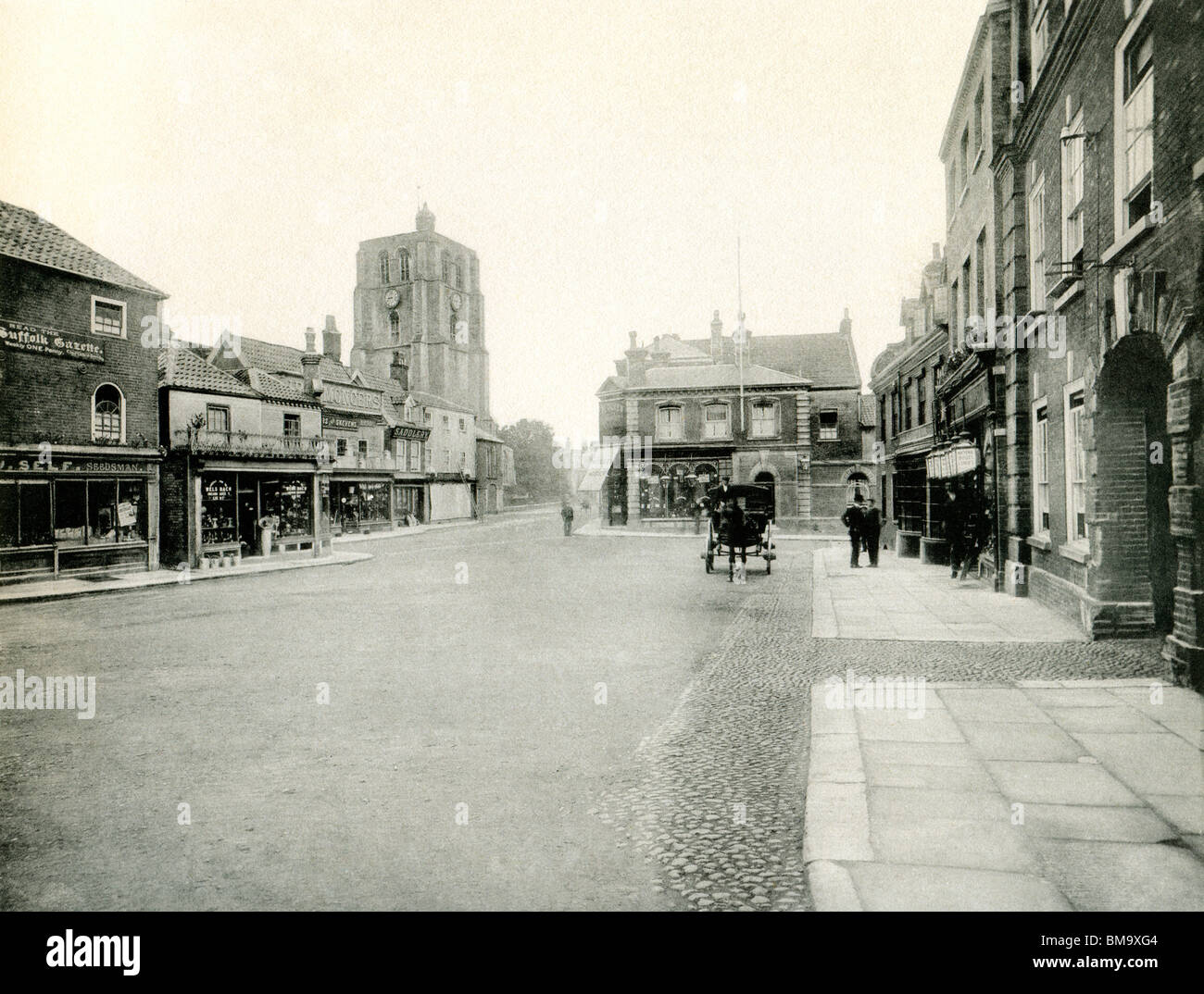 UK England, Historic Suffolk, Victorian Beccles town centre market square around 1900 Stock Photo
