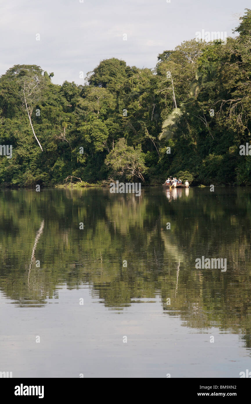 Ox-bow lake in Manu Nature Reserve, Peruvian Amazon - Stock Image