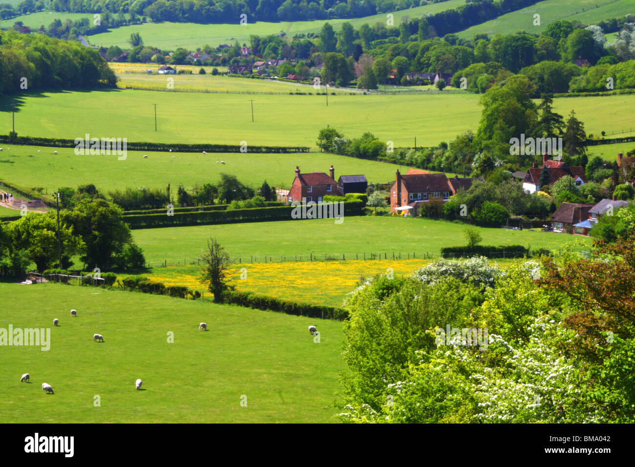 A scenic view on a sunny spring day, from the edge of Hanger Wood with Fingest nestled in the Hambleden Valley. - Stock Image