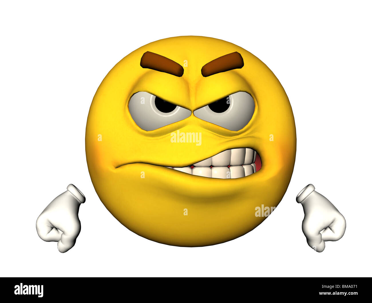 3D illustration of an angry emoticon - Stock Image
