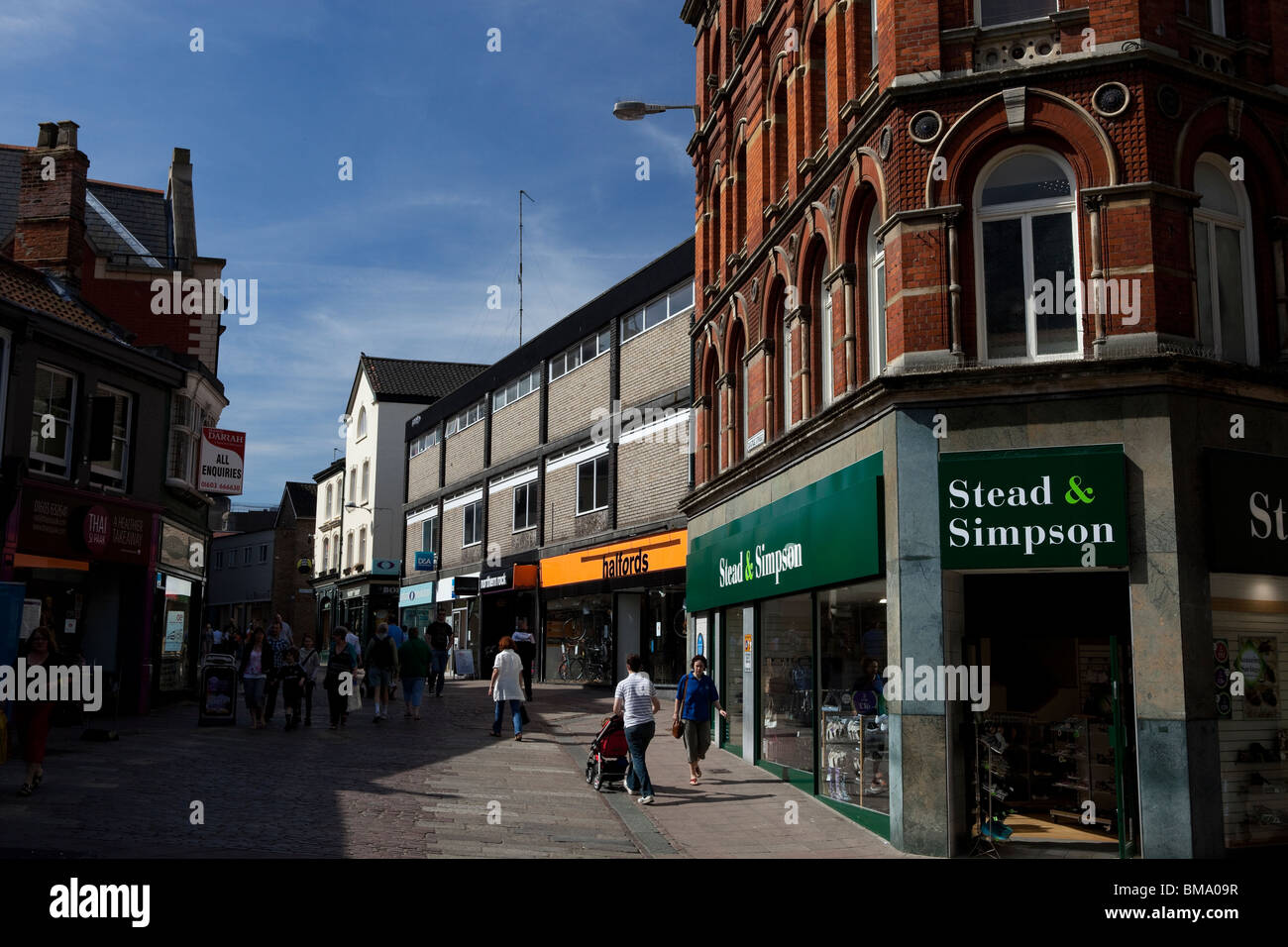Norwich city centre, London Street leading towards the Castle Mall Shopping center - Stock Image