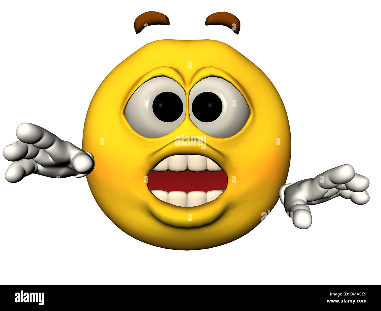 3D illustration of a surprised emoticon - Stock Image