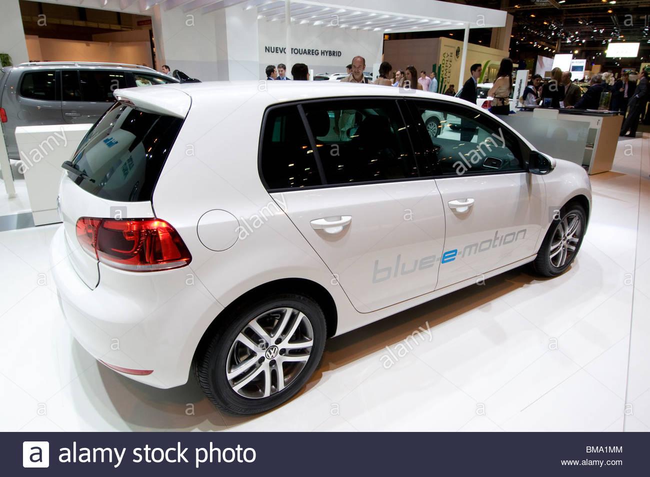 The new VW Golf Blue-e-motion electric car at the Salon Internacional del Automovil Ecologico y de la Movilidad - Stock Image