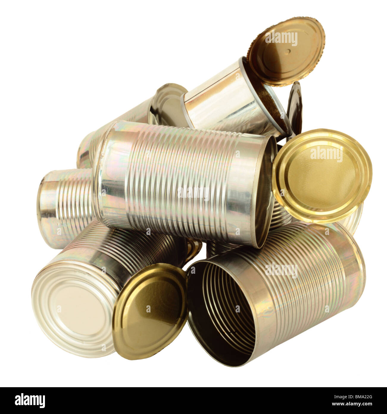 Empty tin cans in a still life arrangement on white background - Stock Image