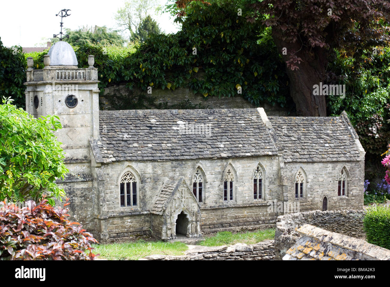 Miniature Village made of Stone at Bourton on the Water Cotswolds - Stock Image