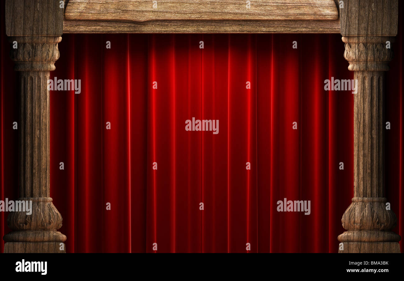 curtain theatre scarlet ren classical stage velvet drapery red curtains theater photo silk
