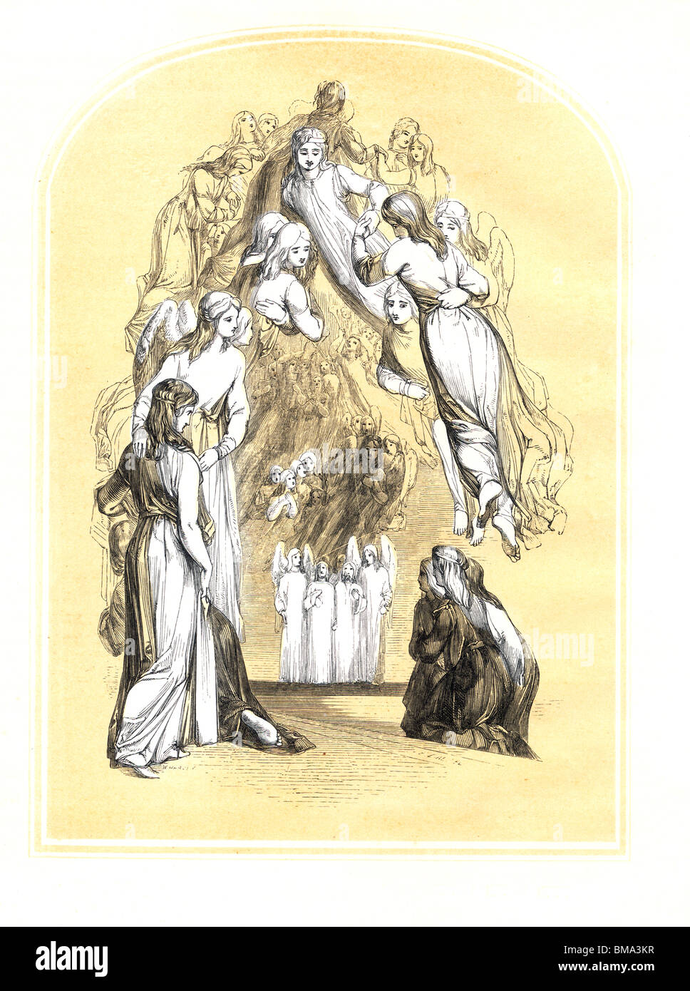 Illustration from John Bunyan's The Pilgrim's Progress; Pilgrima Welcomed by the Heavenly Host; Engraving - Stock Image