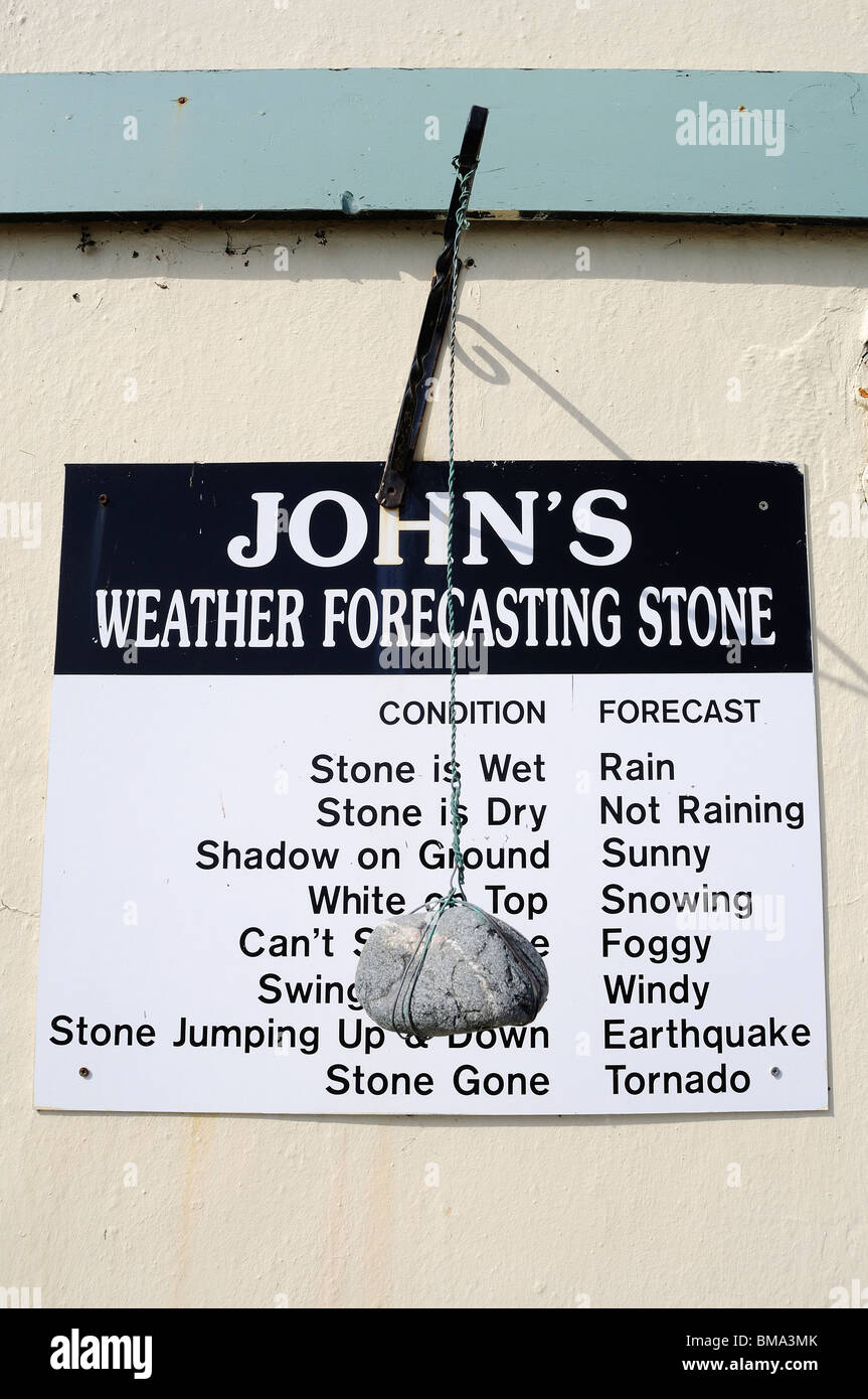 a comical weather forecasting station at porthallow in cornwall, uk - Stock Image
