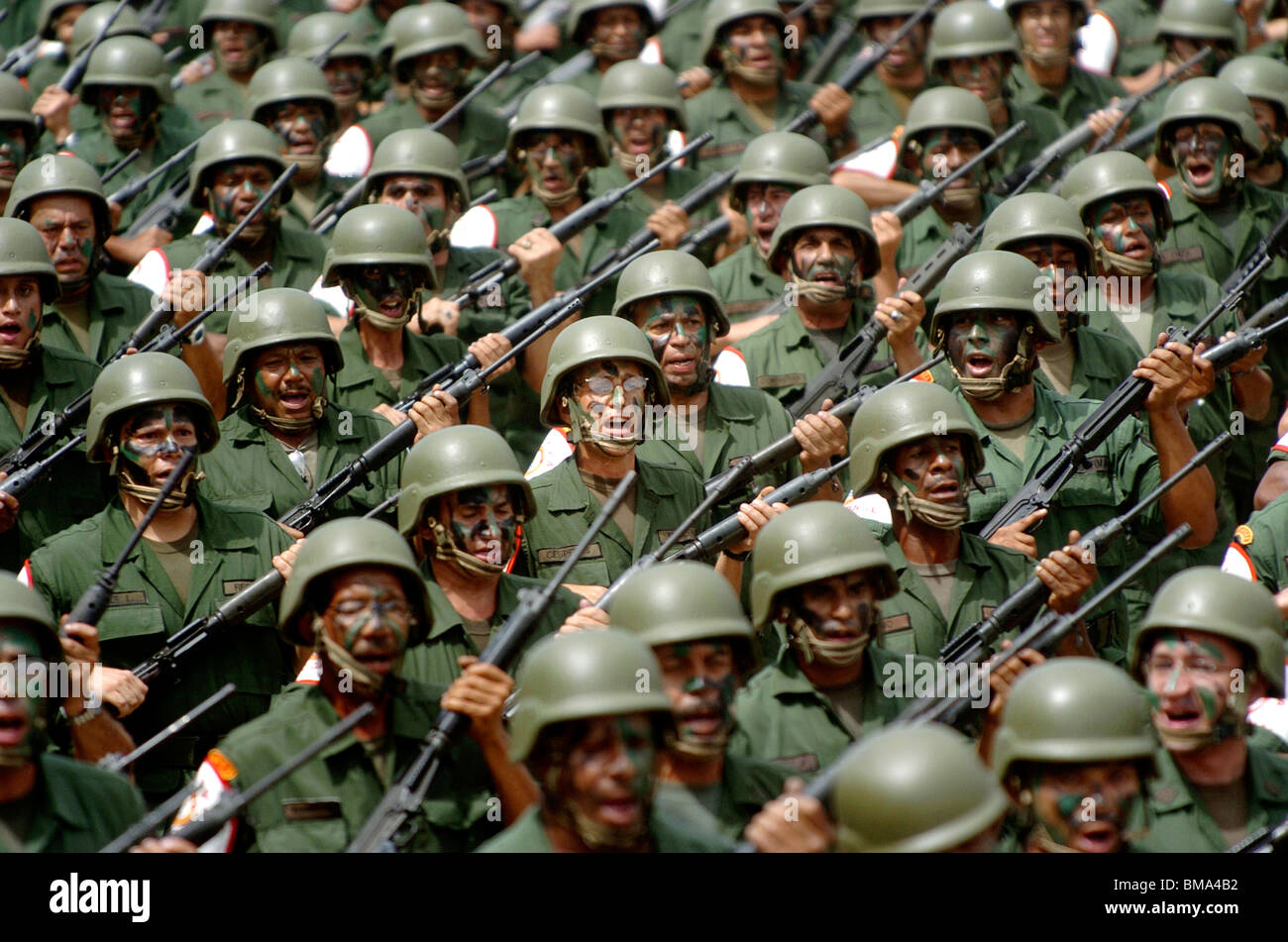 Army reservists march in a military parade in Valencia, Venezuela, June 24, 2006. Photo/Chico Sanchez Stock Photo