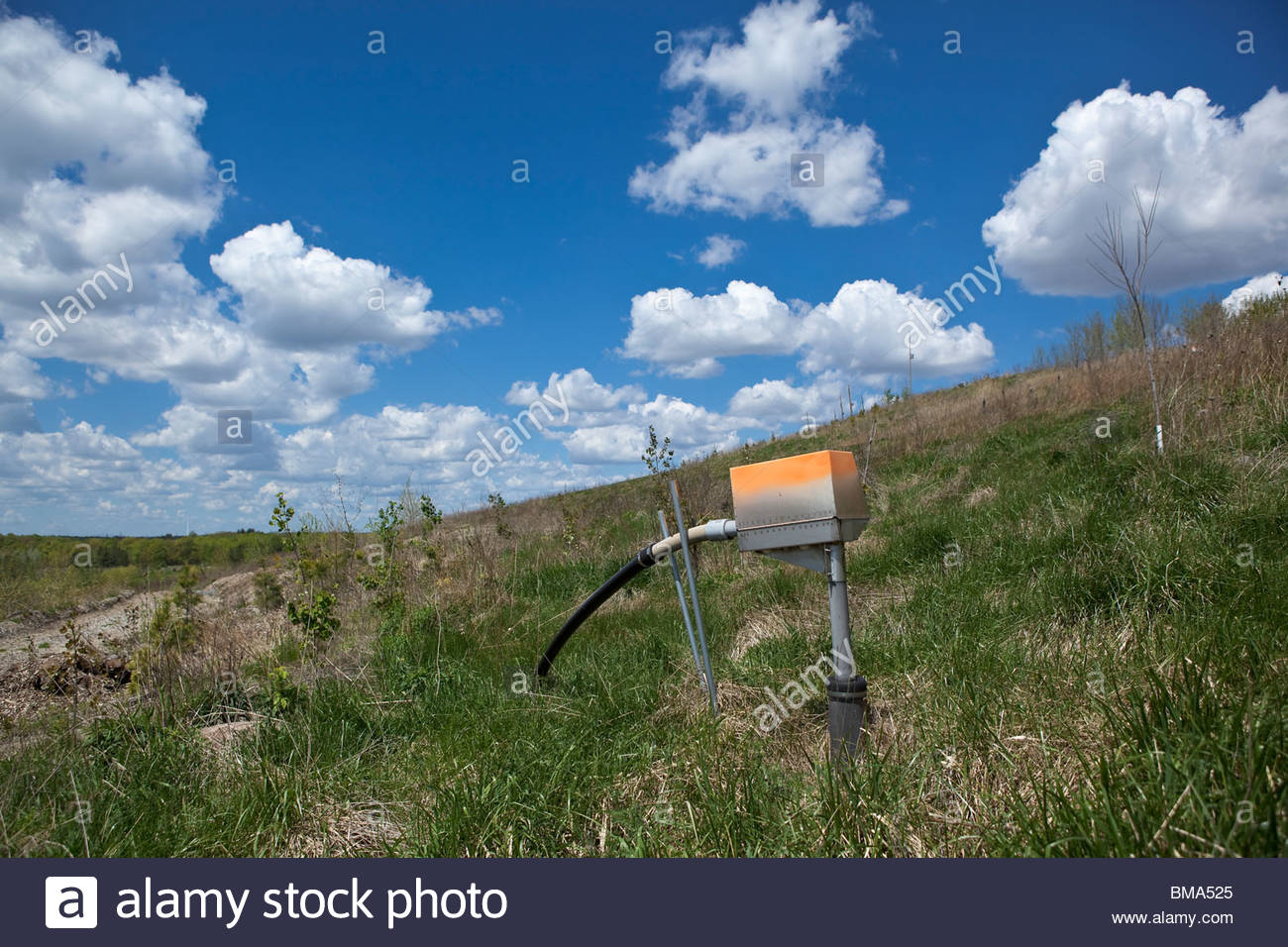Biogas Well drawing biogas from the old Beare Road landfill to make electricity in Toronto Ontario Canada - Stock Image