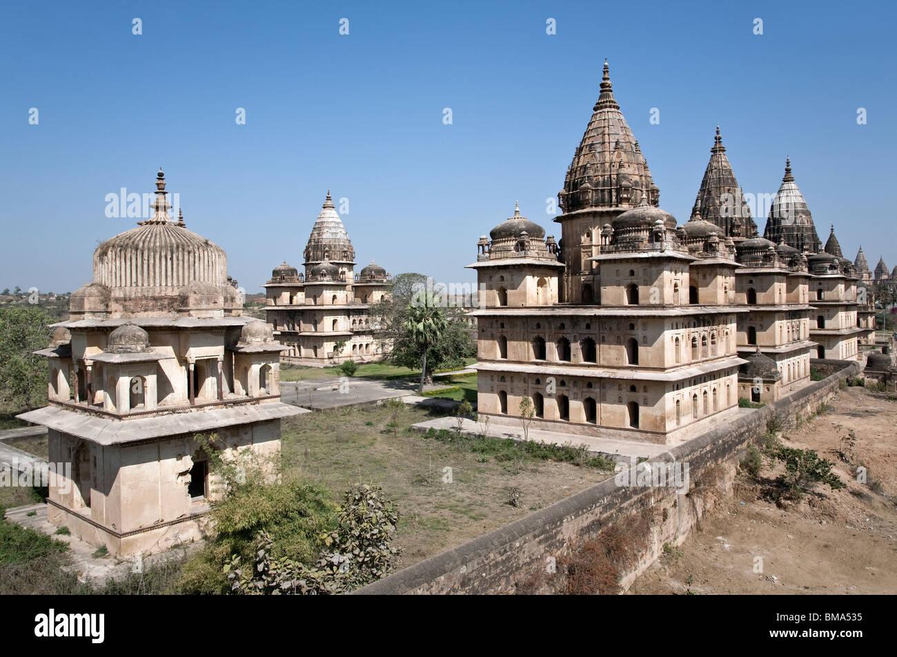 Royal cenotaphs. Orchha. Madhya Pradesh. India - Stock Image