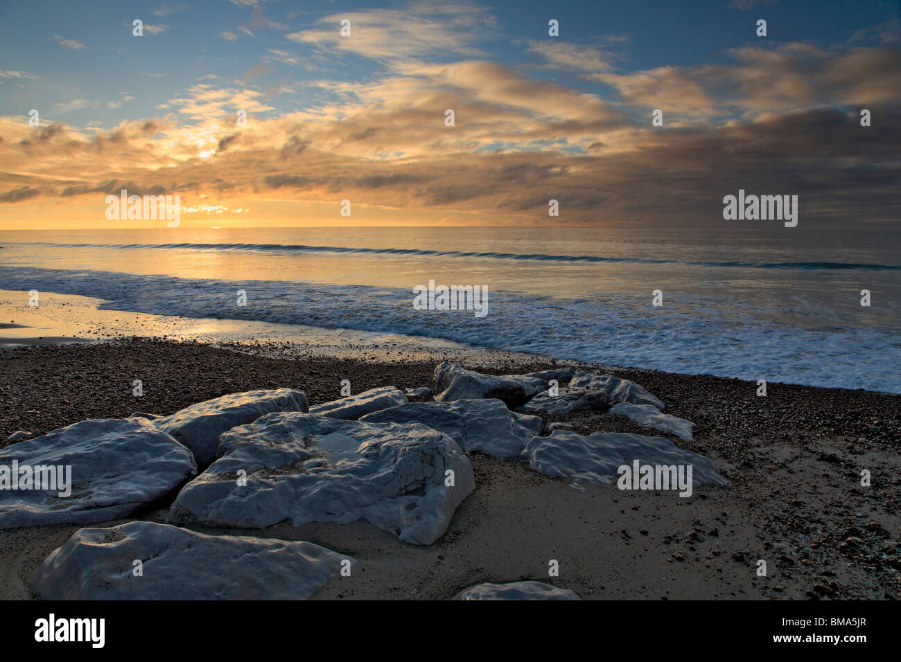 Sunset at Lancing beach,near Worthing, West Sussex - Stock Image