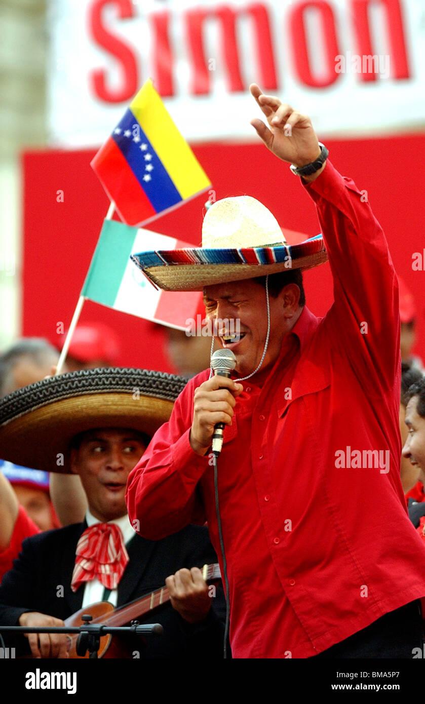 Venezuela's President Hugo Chavez sings Mexican songs at a rally in Caracas, Venezuela, November 19, 2005. Photo/Chico Stock Photo