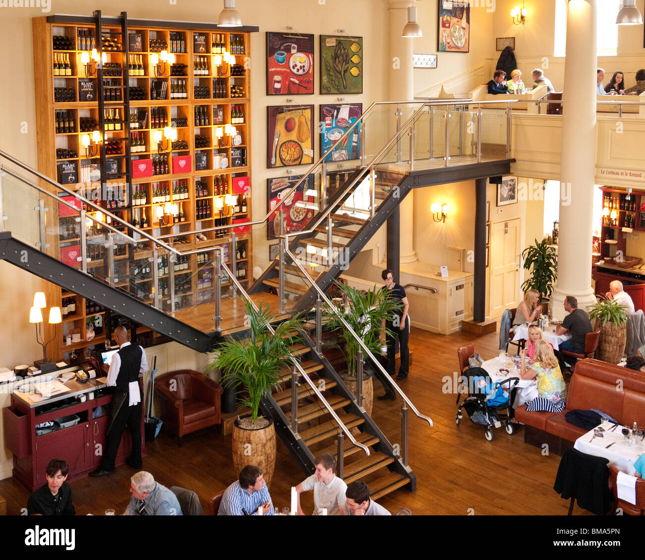 Raymond Blanc's restaurant, 'Brasserie Blanc', in the former Quaker Meeting House, Cabot Circus, Bristol, - Stock Image