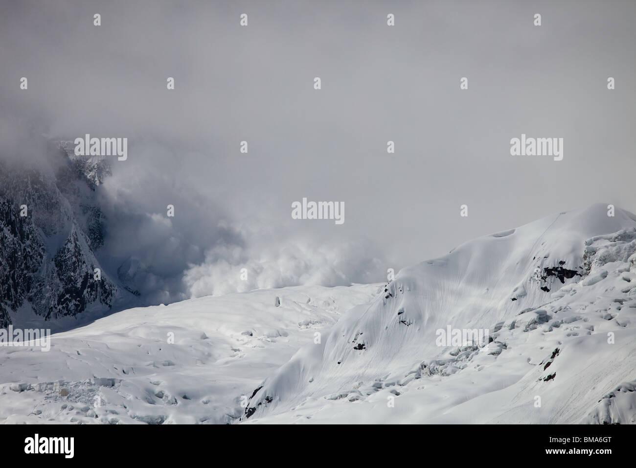 Avalanche in the Rakaposhi Range, Hunza, Pakistan - Stock Image