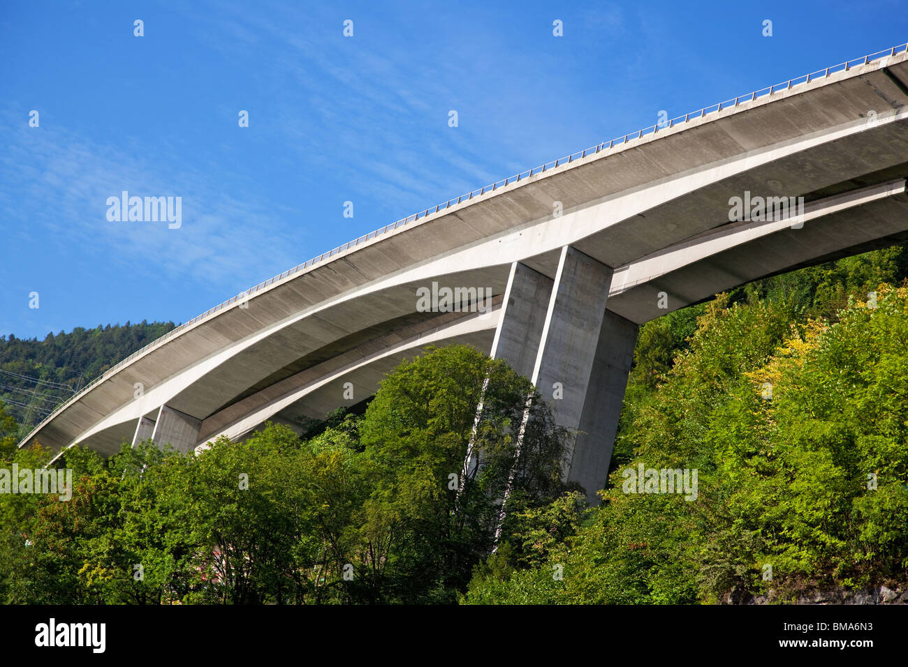 High modern road on mountains. Angle view. - Stock Image