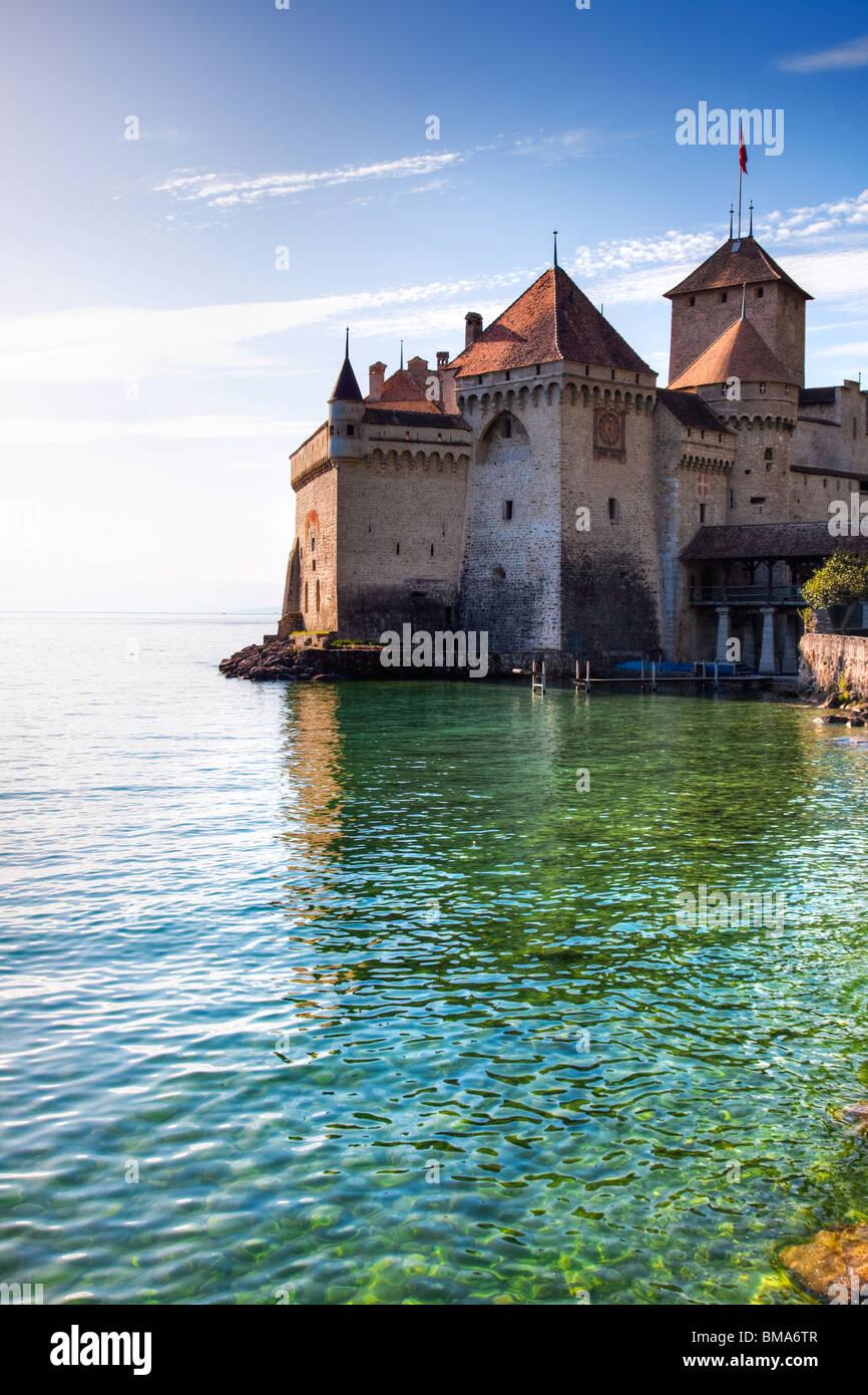 Chillon Castle at Geneva lake in Switzerland. - Stock Image