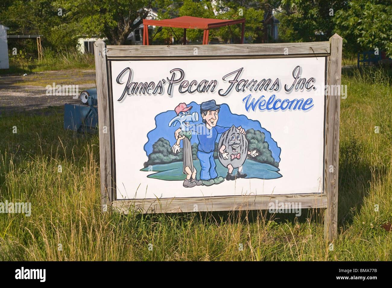 Sign for World's Largest Pecan near Brunswick, Missouri - Stock Image