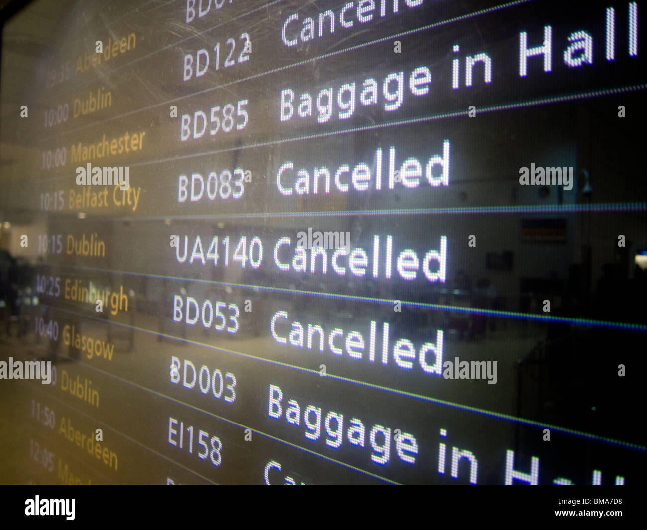 Flight Cancellations at Heathrow caused by Icelandic Volcanic Ash. - Stock Image