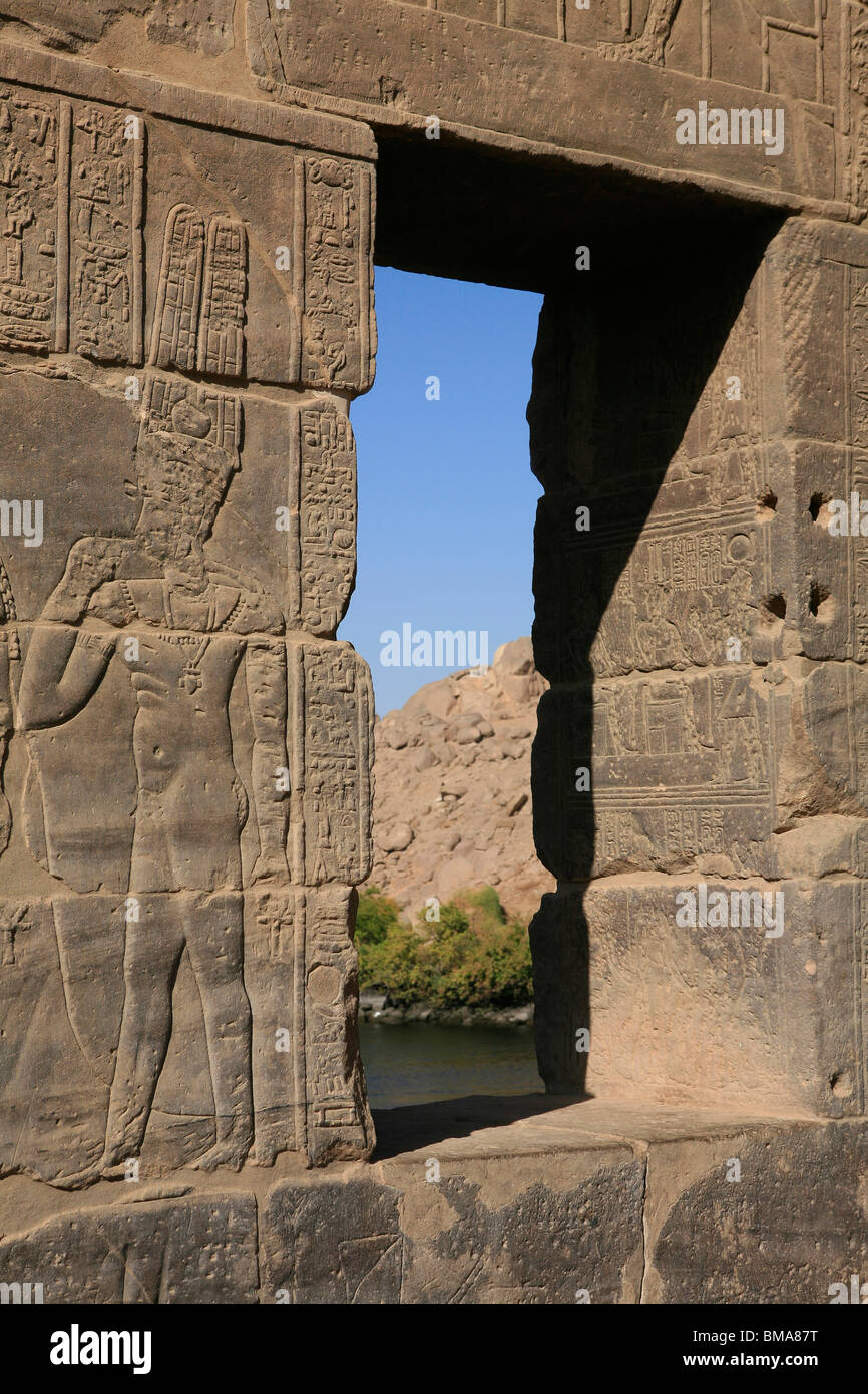 View of the River Nile through a window at the Temple of Philae, Egypt - Stock Image