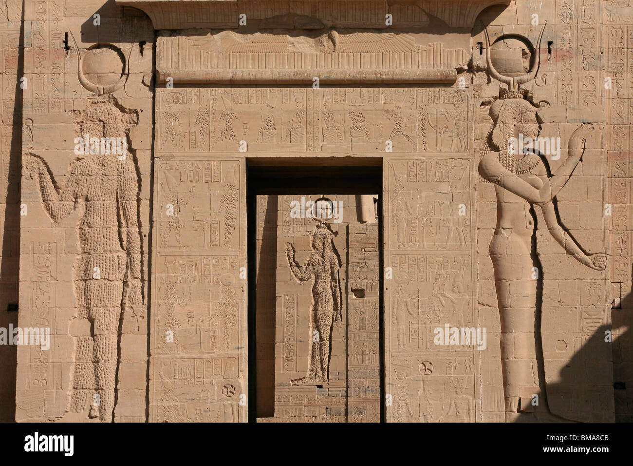 Main entrance to the first pylon of the Temple of Isis proper at Philae, now on Agilka Island in Egypt - Stock Image