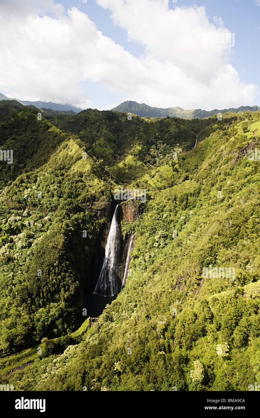 Waterfall at kauai national park - Stock Image