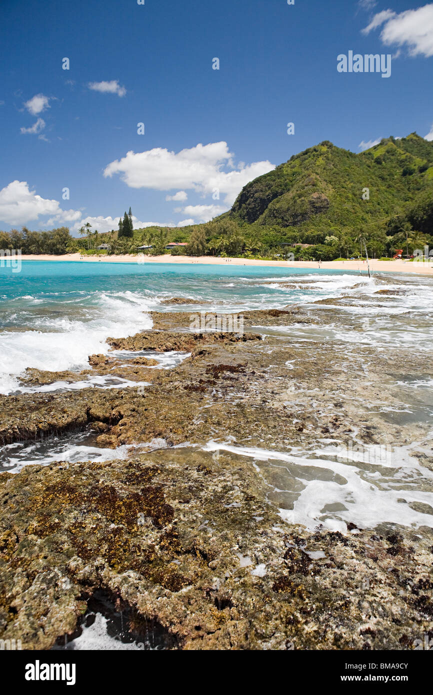 Rocky beach in kauai - Stock Image