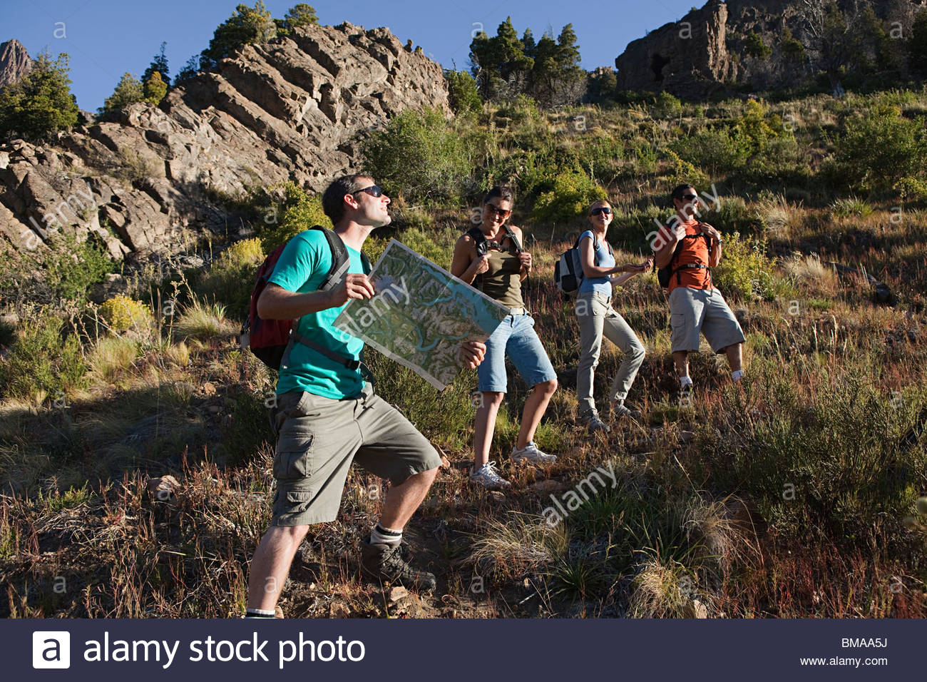 Hikers with map - Stock Image