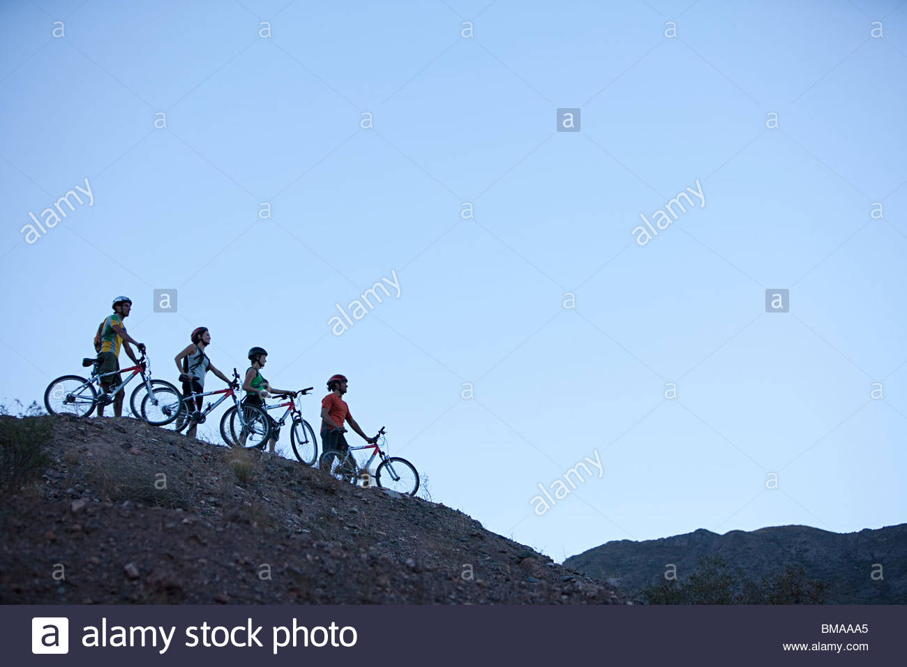 Four mountain bikers on a hill - Stock Image
