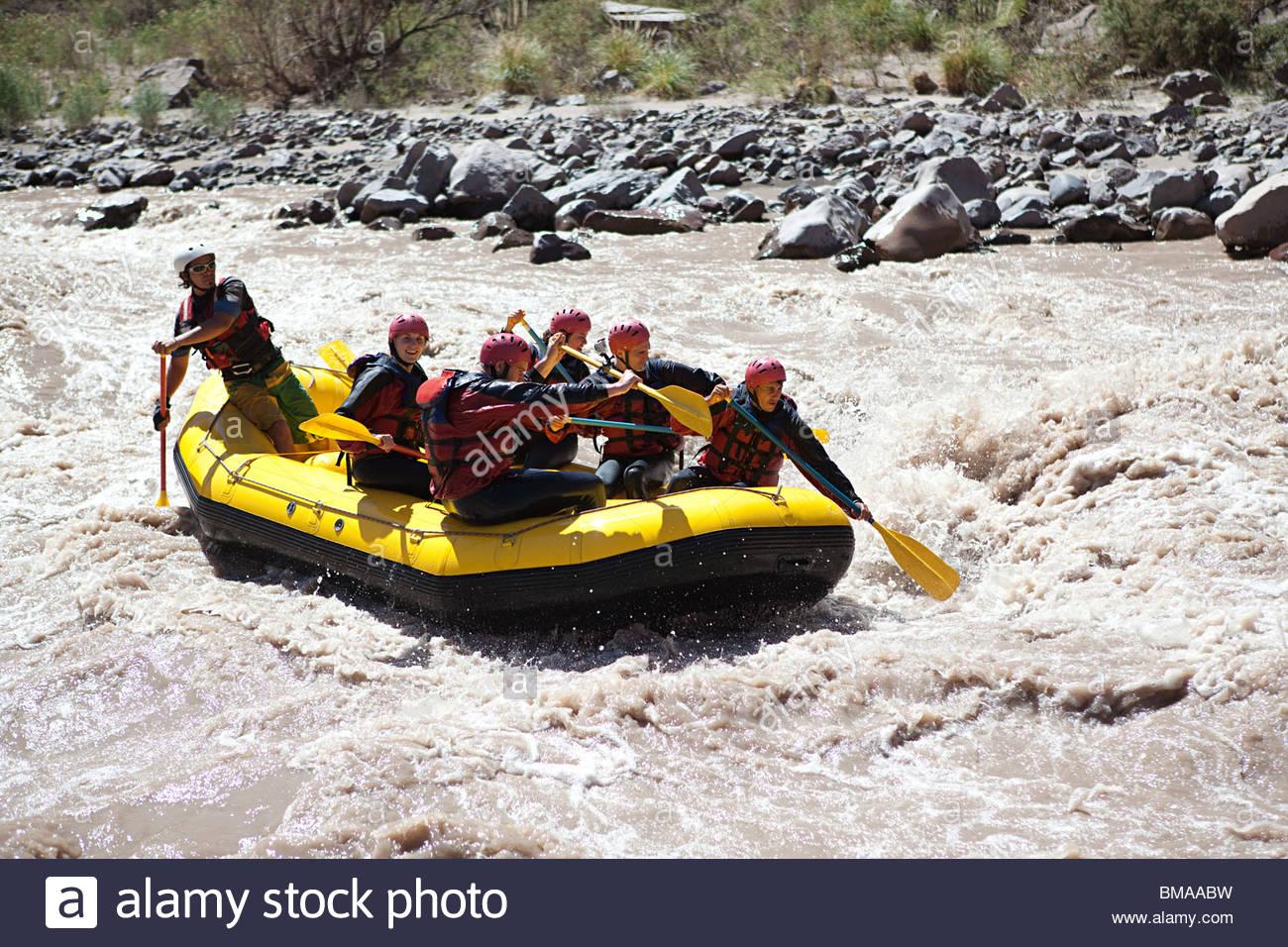 People white water rafting - Stock Image