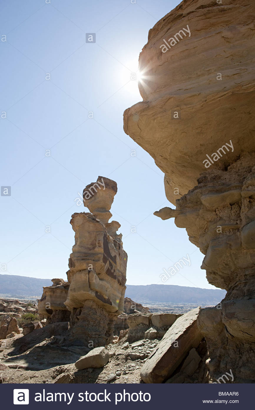 Rock formations at ischigualasto in argentina - Stock Image