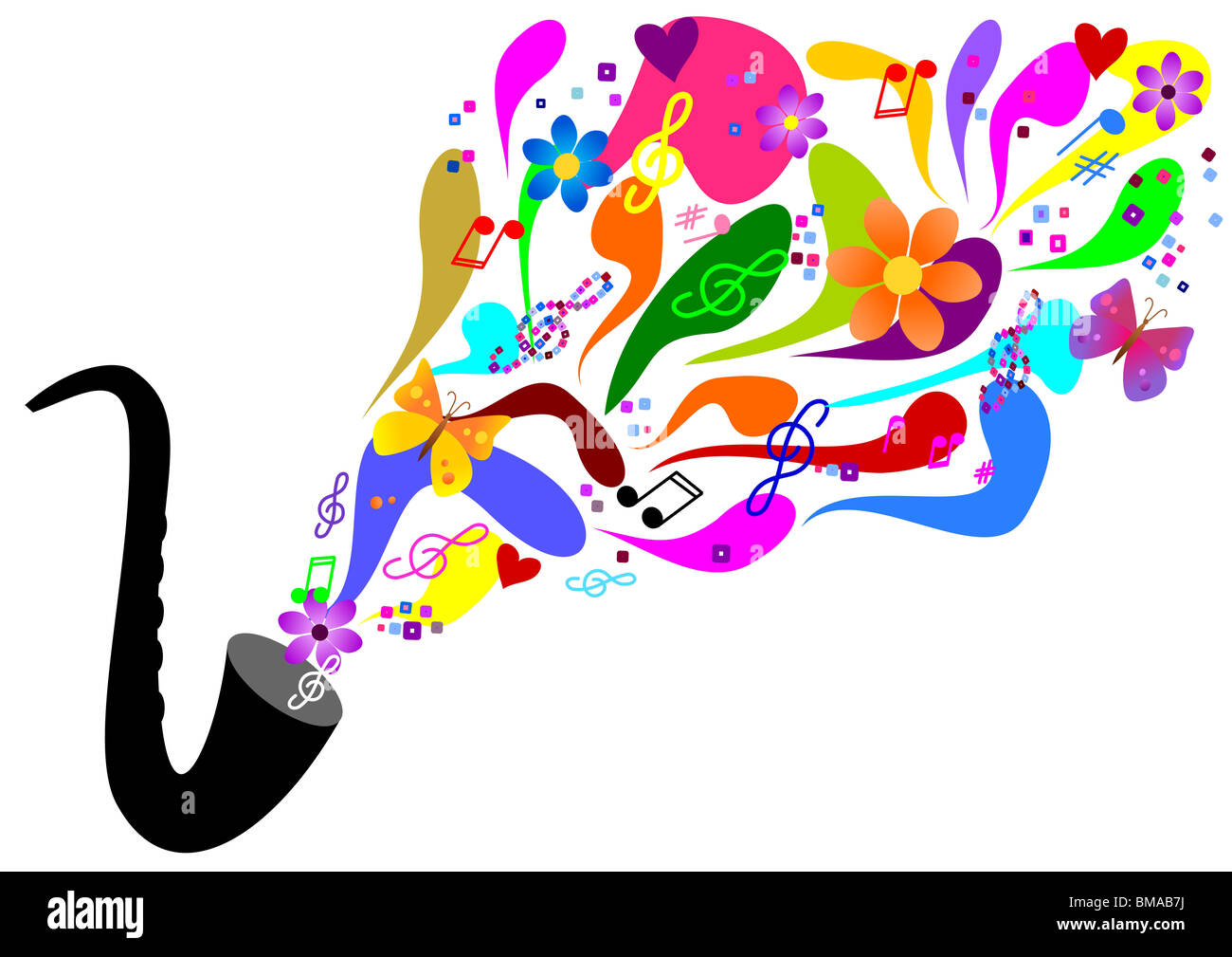 Sixties music - colorful saxophone - Stock Image