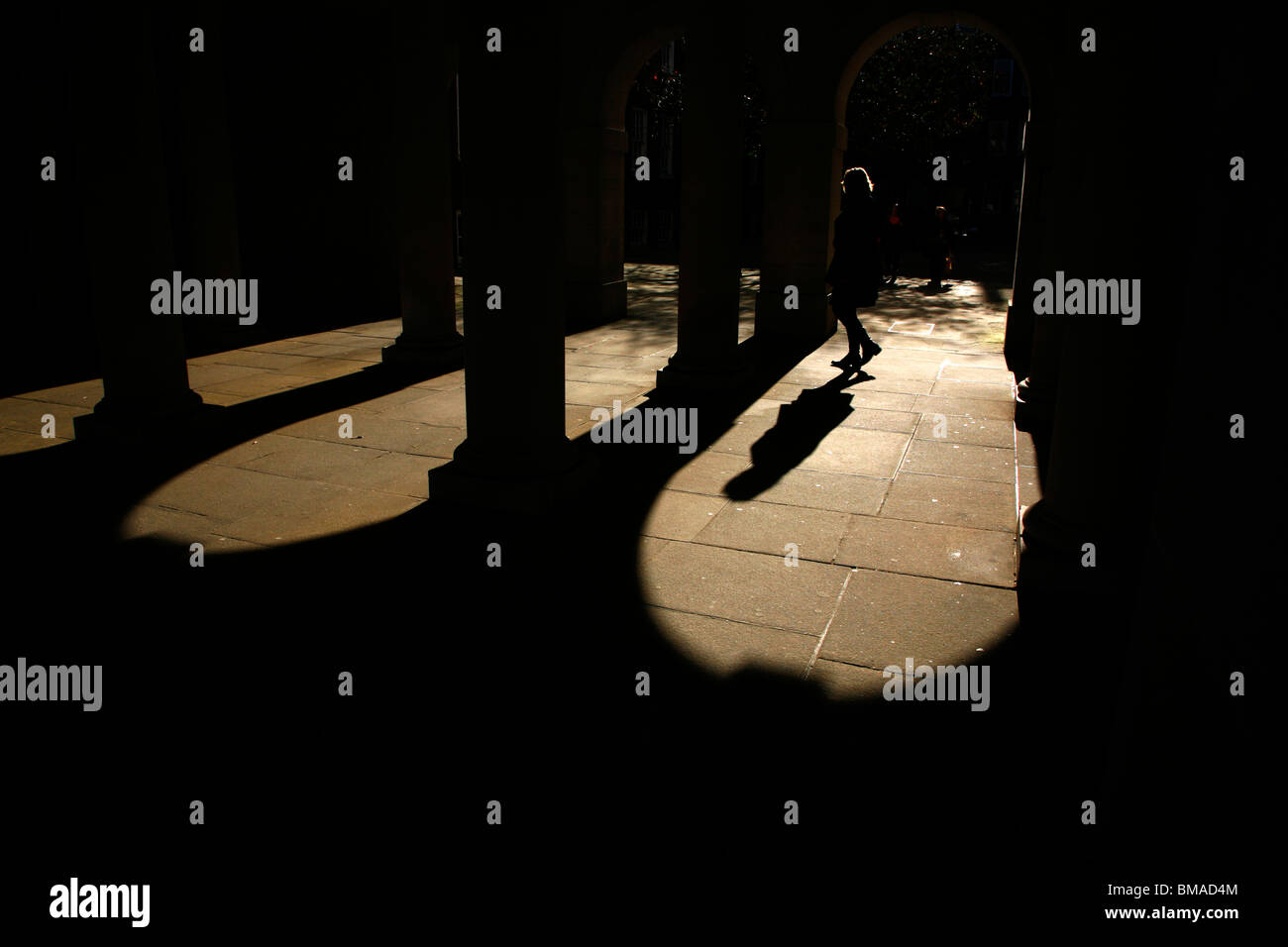 Sunshine and shadows in the arches in Inner Temple, Inns of Court, London, UK - Stock Image